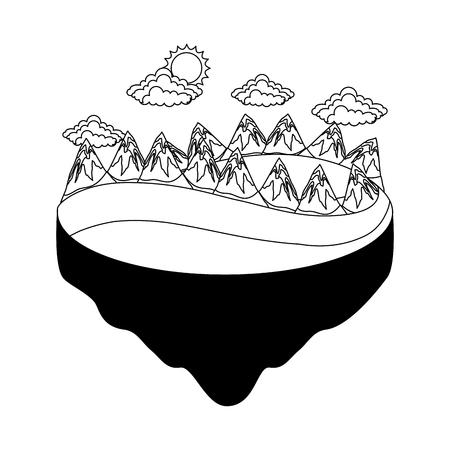 Range of mountains in black and white Illustration. Illustration