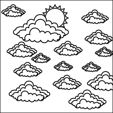 Sun and clouds in black and white Illustration.