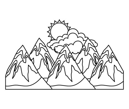 Mountains in black and white Illustration.