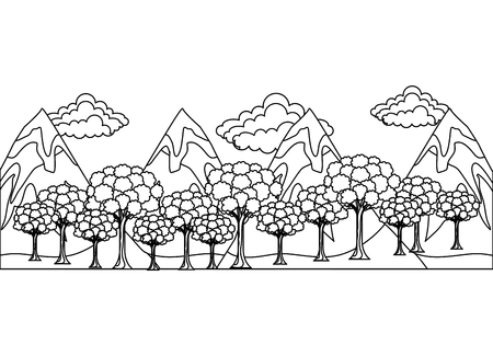 forest trees mountains snow clouds panorama vector illustration