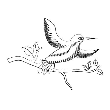 Ailes ouvertes oiseaux dans l & # 39 ; arbre branche de la faune illustration vectorielle Banque d'images - 98469929