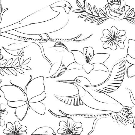 背景繊細な鳥や花ユリとバラベクターイラスト  イラスト・ベクター素材