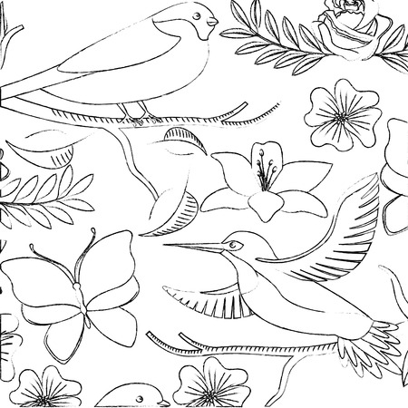 background delicate birds and flowers lilies and roses vector illustration Ilustracja