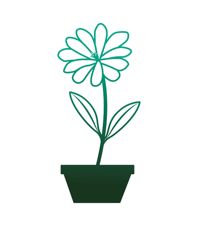 flower daisy in a pot decoration icon vector illustration degraded color green Illustration