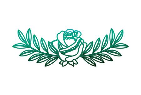 delicate flower rose branches leaves image vector illustration degraded color green