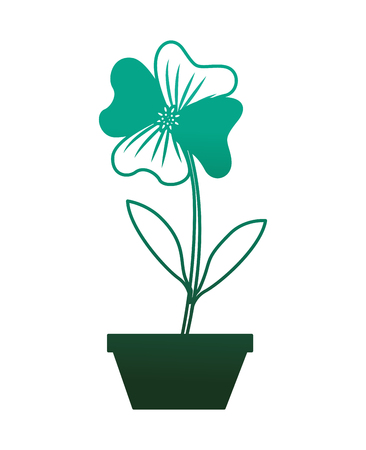 flower periwinkle in a pot decoration icon vector illustration degraded color green
