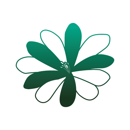 A flower natural flora decoration icon vector illustration degraded color green