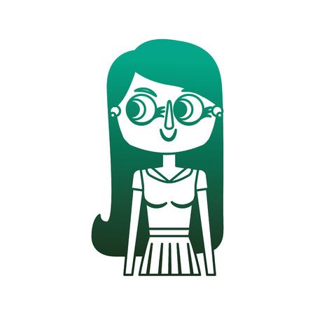 beauty cartoon woman with long hair portrait vector illustration degraded color green Illusztráció