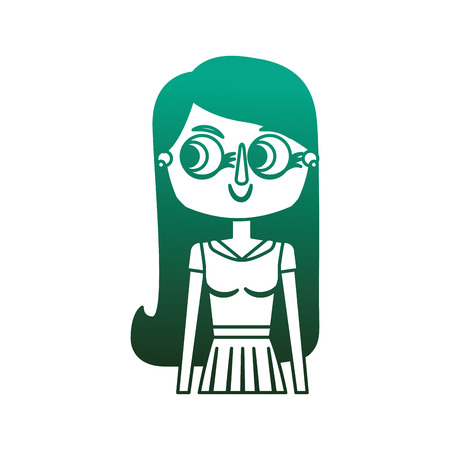 beauty cartoon woman with long hair portrait vector illustration degraded color green Illustration