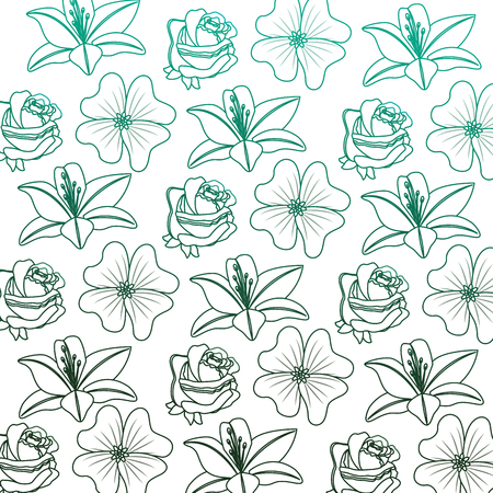 decorative flowers lily rose natural textile pattern vector illustration degraded color green Illustration