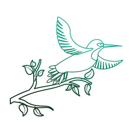 Bird open wings feathers in the tree branch vector illustration degraded color green.