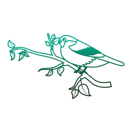 Cute bird in the tree branch wildlife vector illustration degraded color green. Banco de Imagens - 98513004