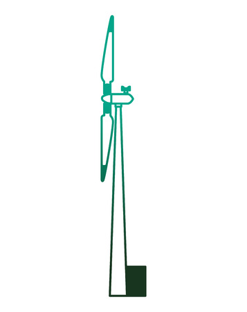 Energy renewable turbine wind power side view vector illustration degraded color green.