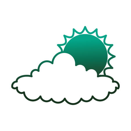 Weather sun cloud day image vector illustration degraded color green.