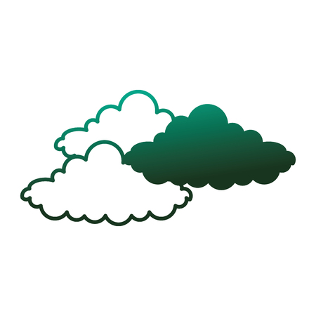 Weather clouds atmosphere climate image vector illustration degraded color green. Illustration