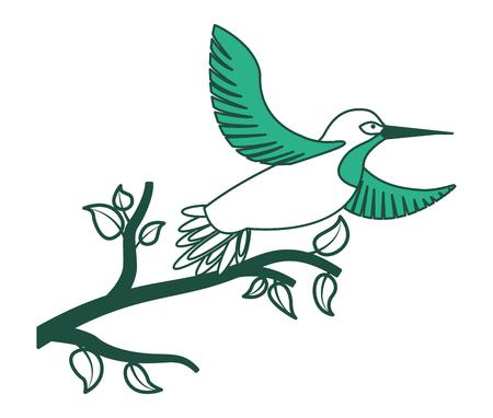 Bird open winds in tree branch wildlife vector illustration green design.
