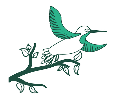 Bird open winds in tree branch wildlife vector illustration green design.