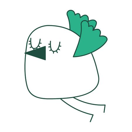 Cute cartoon bird flying image vector illustration green design.