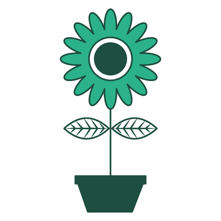 Potted sunflower flower natural interior decoration vector illustration green design. 스톡 콘텐츠 - 98513070