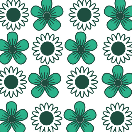 Decorative flowers sunflower daisy natural textile pattern vector illustration green design. Ilustracja
