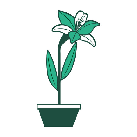 Flower lily in a pot decoration icon vector illustration green design.