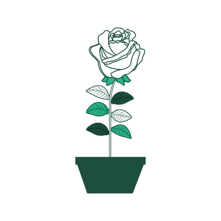 Flower rose in a pot decoration icon vector illustration green design.