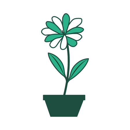 Flower daisy in a pot decoration icon vector illustration green design.