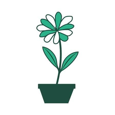 Flower daisy in a pot decoration icon vector illustration green design.