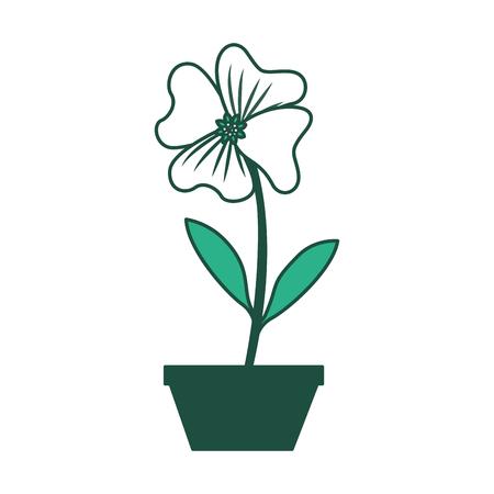 Fleur pervenche dans une décoration de pot icône vecteur design vert illustration Banque d'images - 98513079