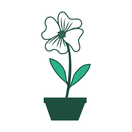 Flower periwinkle in a pot decoration icon vector illustration green design.