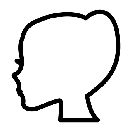 silhouette profile female character vector illustration outline