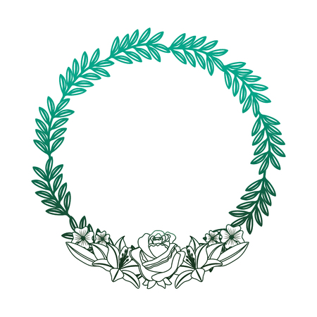 floral wreath roses and lilies decoration branches vector illustration degraded color green Ilustracja