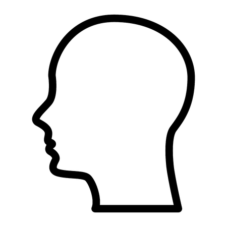 silhouette human head male character vector illustration outline