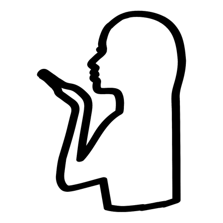 silhouette of a girl sends an air kiss vector illustration outline