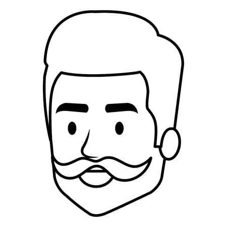 Young man head with mustache avatar character vector illustration design 矢量图像