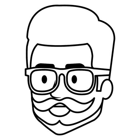 young man hipster style head avatar character vector illustration design 矢量图像