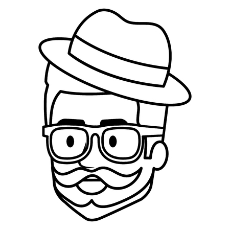 Young man head with beard and hat avatar character vector illustration design. 矢量图像