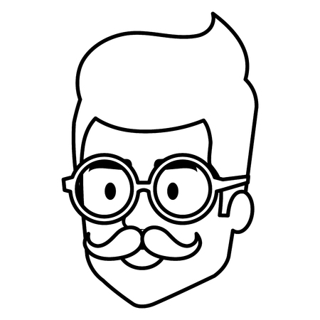 Young man hipster style head avatar character vector illustration design.