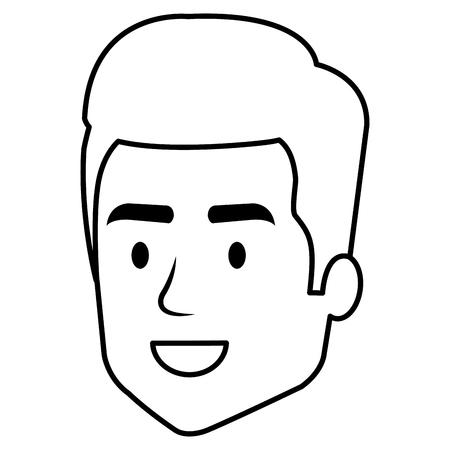 Young man head avatar character vector illustration design.