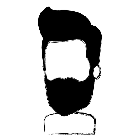 Young man with beard shirtless avatar character vector illustration design Illustration