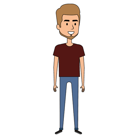 Young man with beard avatar character vector illustration design