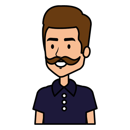 Young man with mustache avatar character vector illustration design