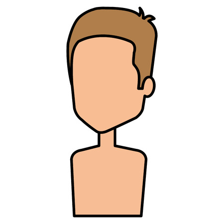 Shirtless and faceless young man illustration