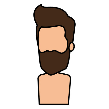 young man with beard shirtless avatar character vector illustration design Stock Vector - 98879002