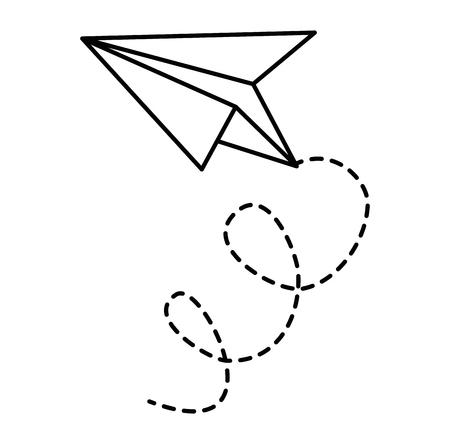 Progettazione dell'illustrazione di vettore dell'icona di volo dell'aeroplano di carta