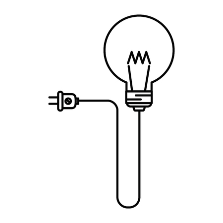 Light bulb illustration with a plug vector illustration Ilustração