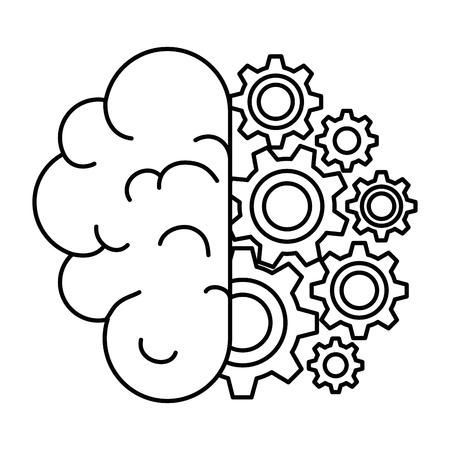 ギアベクトルイラストデザインの脳人間  イラスト・ベクター素材