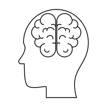 脳人間の臓器アイコンベクトルイラストデザインを持つプロファイル