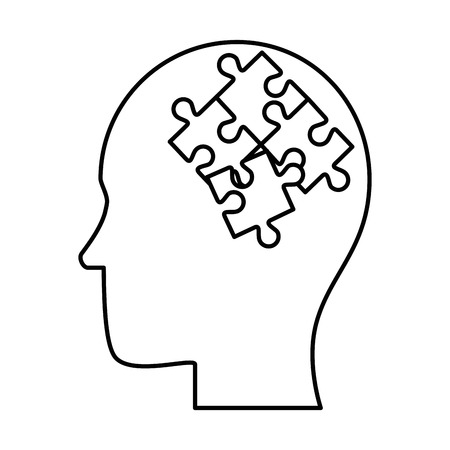 Human profile thinking with puzzle pieces vector illustration design