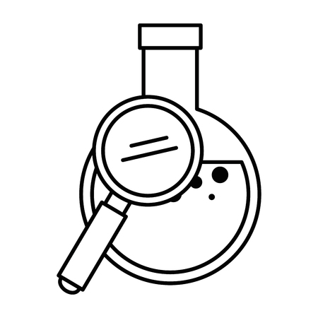 Tube test flask with magnifying glass vector illustration design Illustration